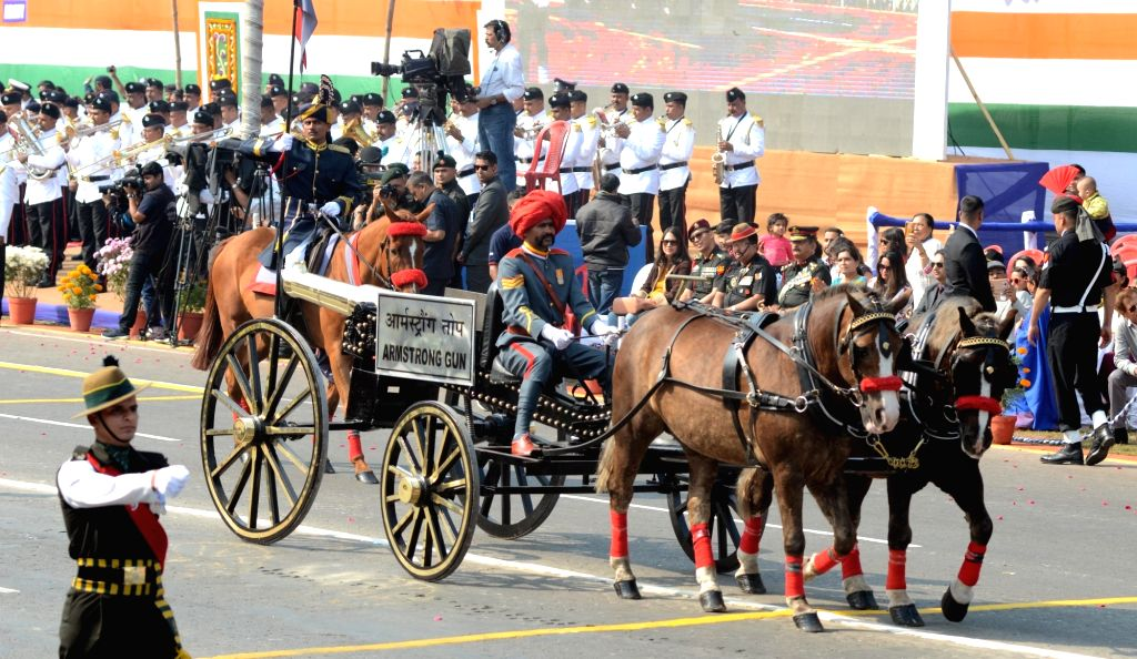 The Armstrong Gun during the 71st Republic Day parade at Red Road during  in Kolkata on Jan 26, 2020.