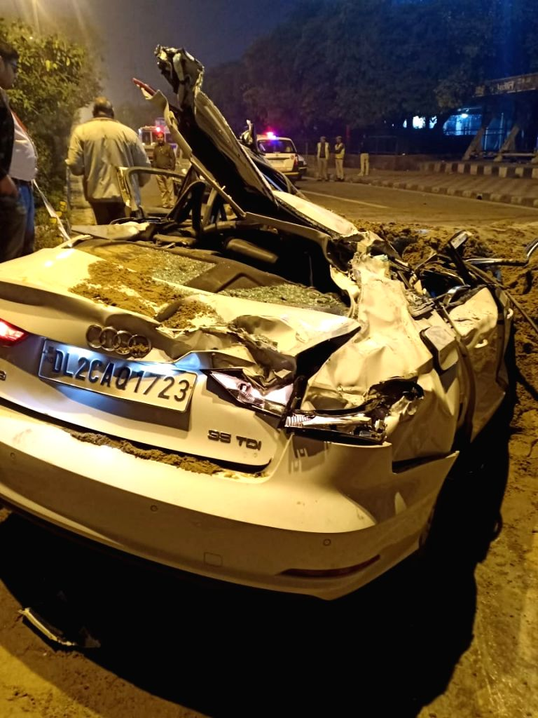 The Audi car that was damaged after a speeding dumper overturned on it likking atleast three members of a family and injuring an infant in New Delhi on Feb 20, 2019. The deceased have been ...