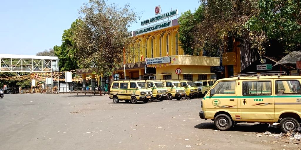 The Bangalore Cantonment railway station bears a desrted look during the nationwide 'Janata Curfew' imposed in the wake of increasing cases of COVID-19 amid coronavirus pandemic, in ...