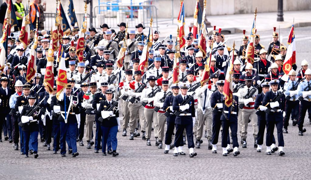 The Bastille Day celebration is held at the Place de la Concorde in Paris, France, on July 14, 2020. Without the traditional military parade down the famous avenue of ...