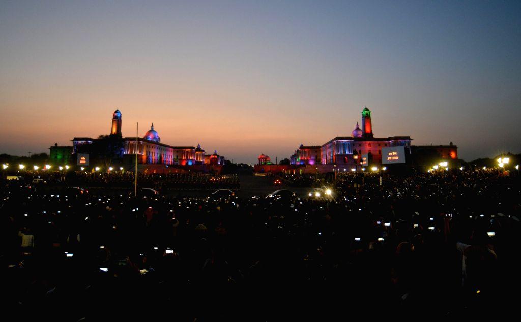 The Beating the Retreat Ceremony 2020 underway at Vijay Chowk in New Delhi on Jan 29, 2020.