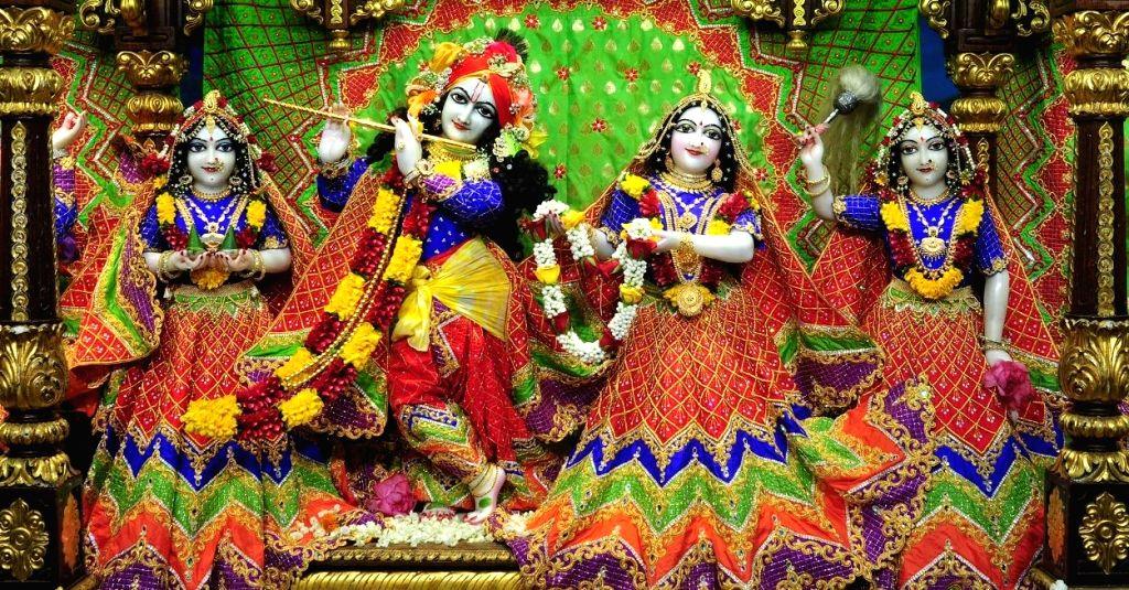 The beautifully decorated idol of Lord Krishna during Krishna Janmashtami celebrations at the Radha Gopinath Temple, ISKCON Chowpatty in Mumbai on Aug 12, 2020. This year, Janmashthami & ...