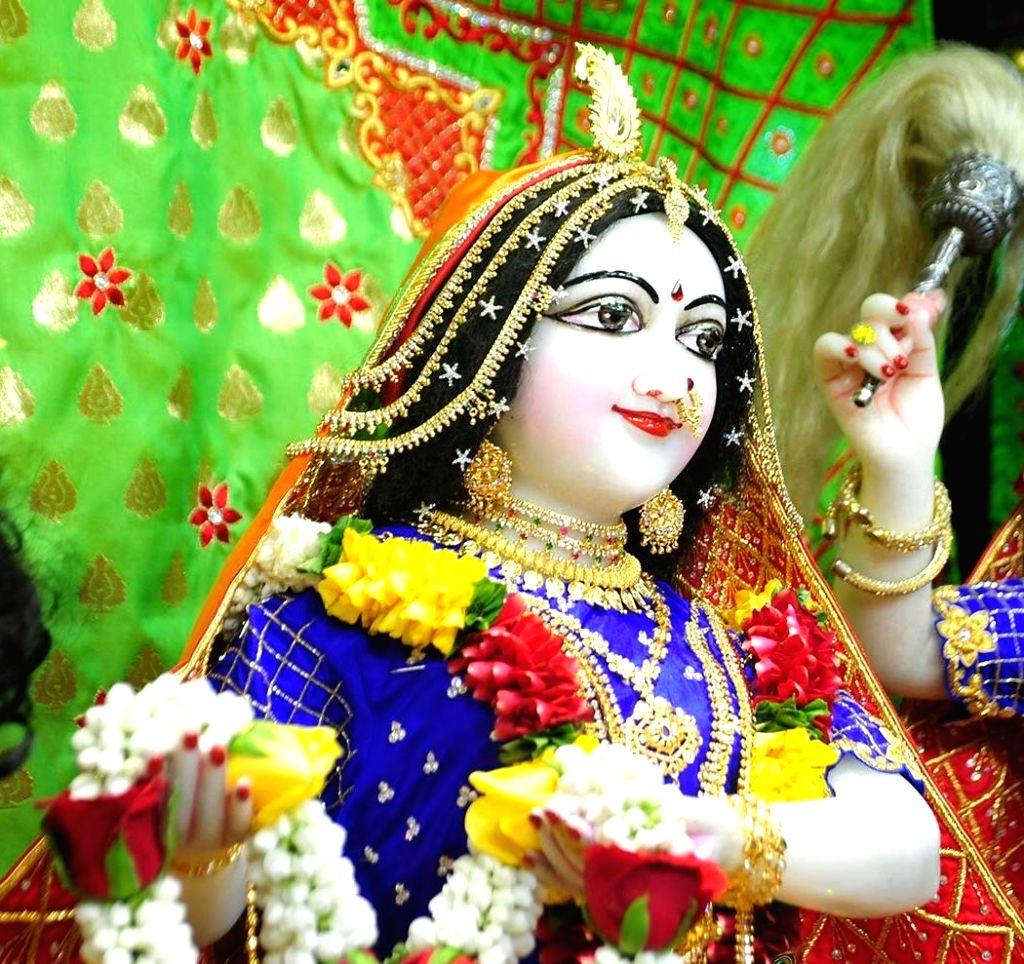 The beautifully decorated idol of Lord Krishna's consort Radharani during Krishna Janmashtami celebrations at the Radha Gopinath Temple, ISKCON Chowpatty in Mumbai on Aug 12, 2020. This year, ...