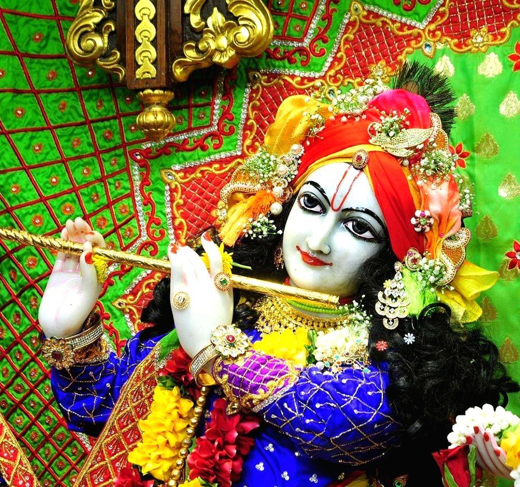 The beautifully decorated idols of Lord Krishna, his consort Radharani and gopis dressed up in Day dress during Krishna Janmashtami celebrations at the Radha Gopinath Temple, ISKCON Chowpatty ...