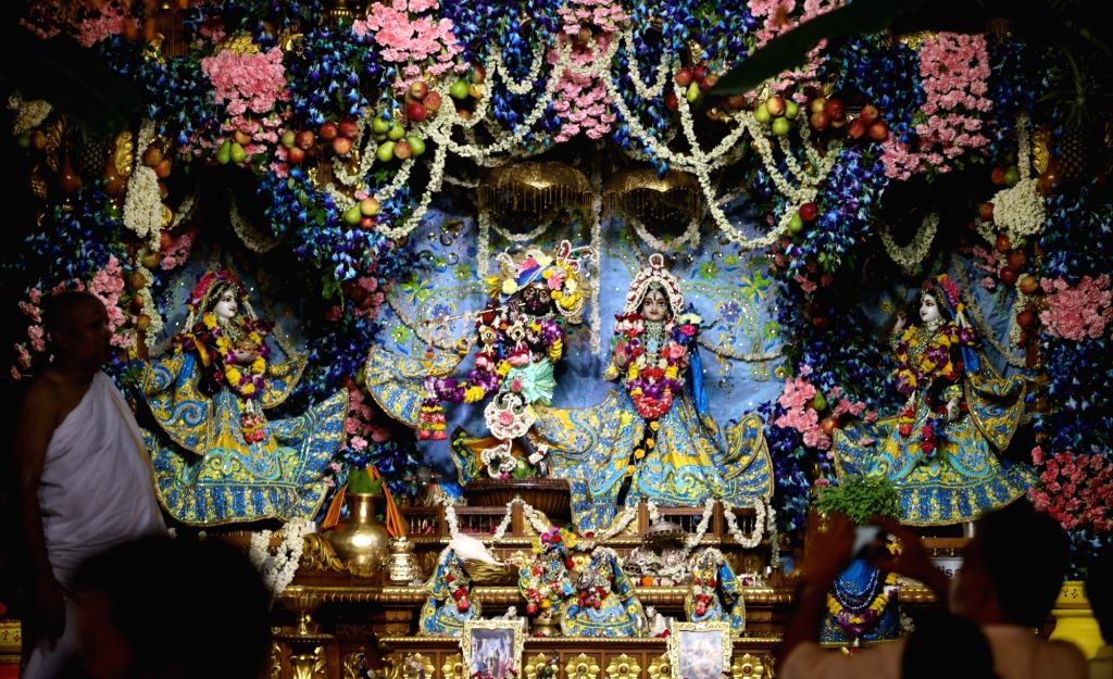 The beautifully decorated idols of Lord Krishna and his consort Radharani during Krishna Janmashtami celebrations at the ISKCON Temple in New Delhi on Aug 12, 2020.