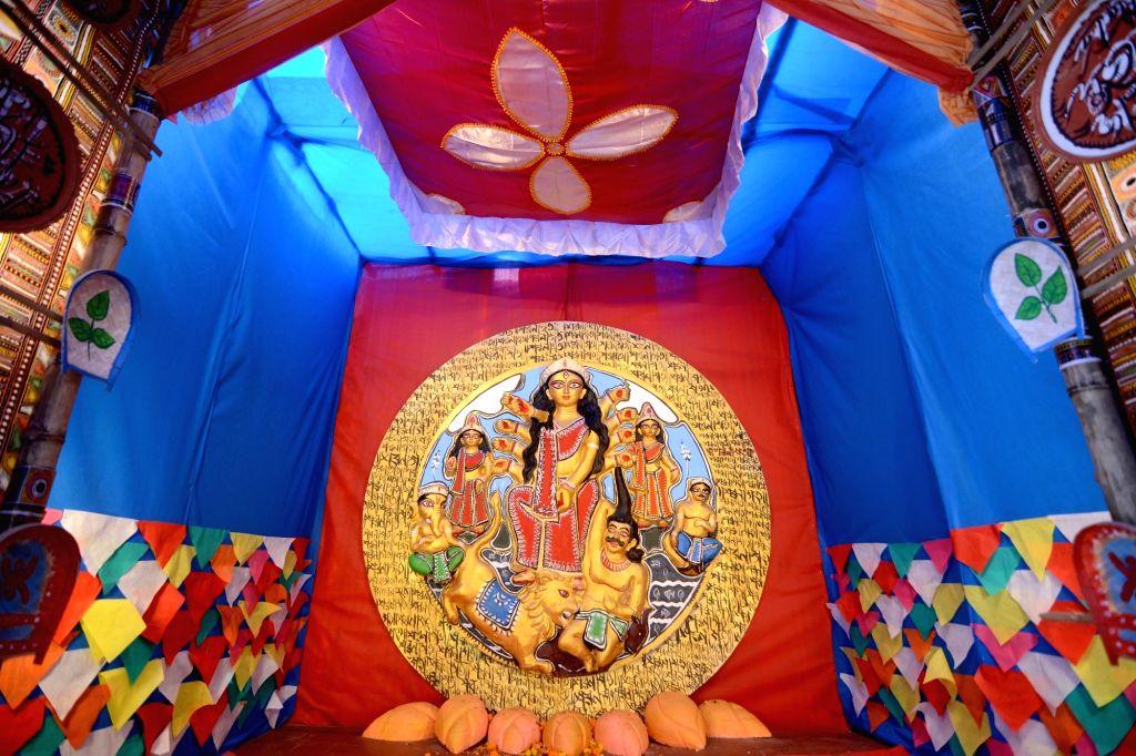 The beautifully decorated Ram Mohan Smriti Sangha community puja pandal ahead of Durga Puja celebrations, in Kolkata on Oct 21, 2020.