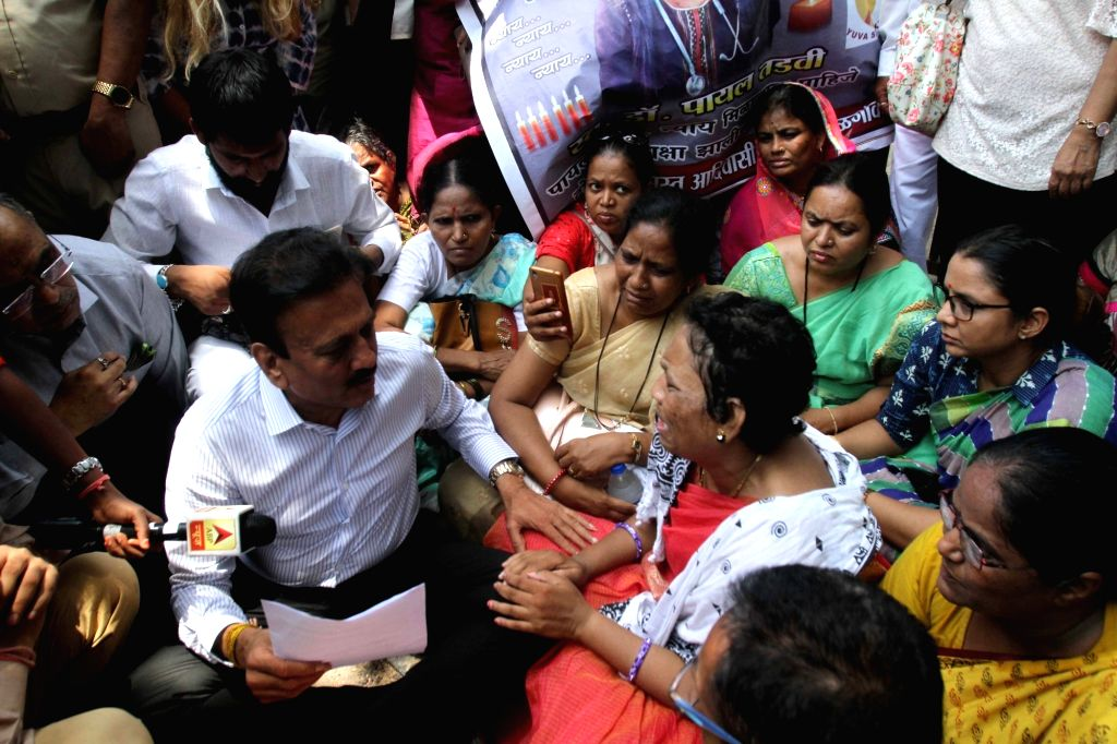The bereaved mother of Payal Salman Tadvi, a medical student who allegedly committed suicide, stage a demonstration outside the Nair Hospital where Payal was a was a postgraduate student, in ...