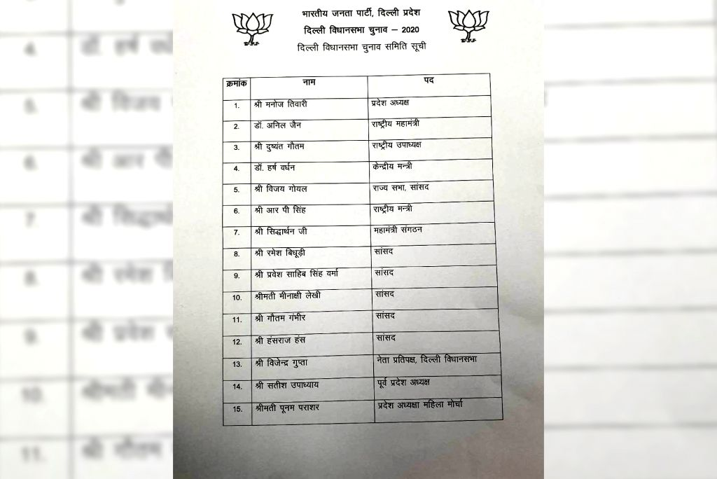 The Bharatiya Janata Party has announced its Election Committee on Friday for the Delhi Assembly elections. The list includes the names of a total of 15 people, with Delhi BJP President Manoj Tiwari ...
