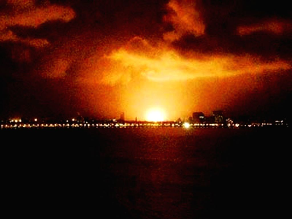 The blaze occured due an explosion on INS Sindhurakshak Submarine on early Wednesday at Neval Dockyard in Mumbai. (Photo::: IANS)