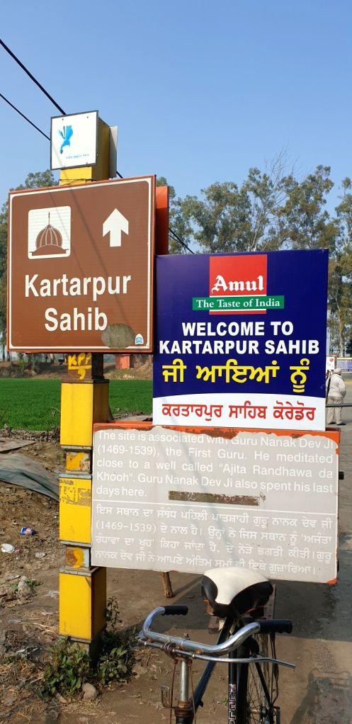 The board near the BSF post at the international border shows the sign towards the Kartarpur Sahib gurdwara in adjoining Pakistan.