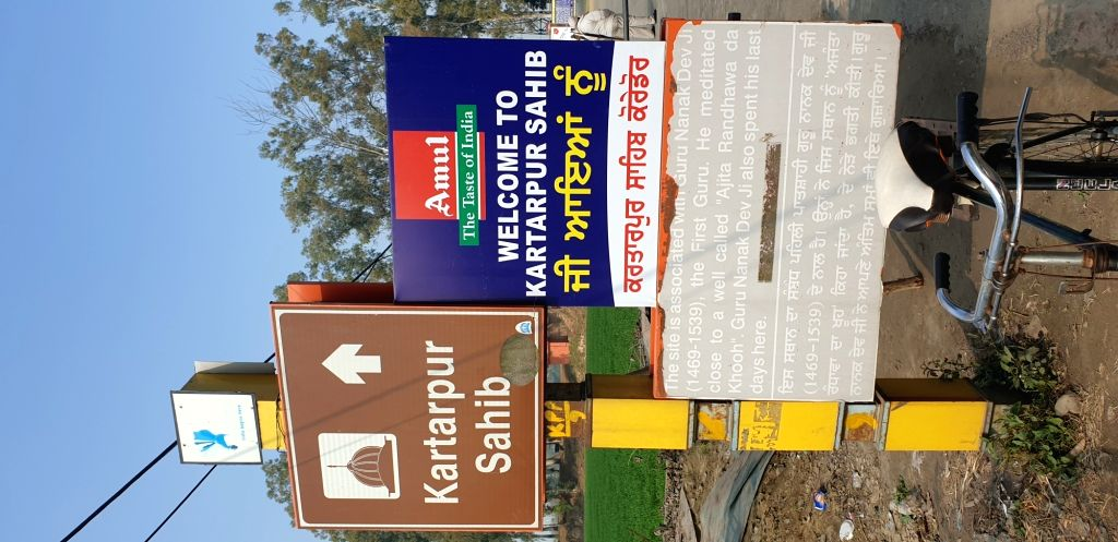 The board near the BSF post at the international border shows the sign towards the Kartarpur Sahib gurdwara in adjoining Pakistan.