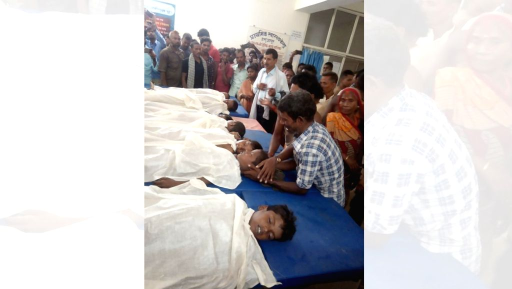 The bodies of seven children who were drowned while taking bath in a pond in Chhapra's Isuapur area, Bihar on July 28, 2019.
