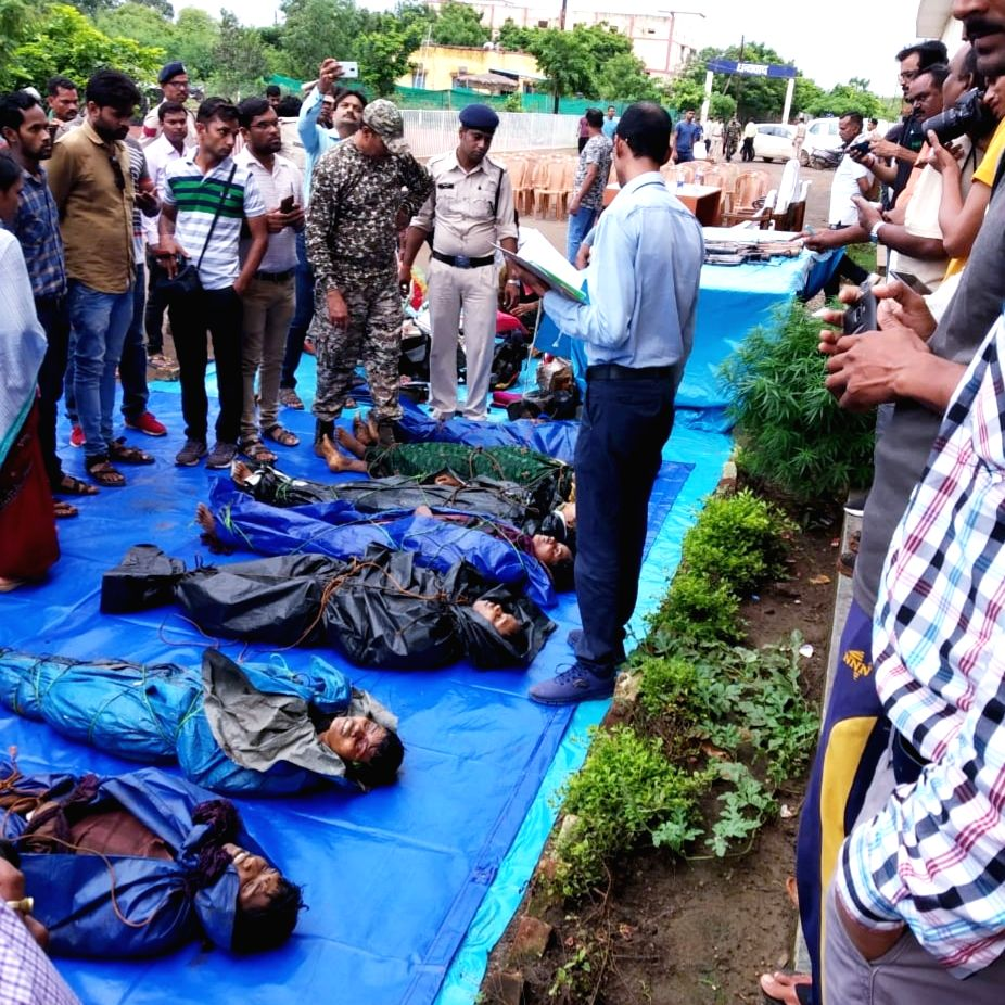 The bodies of seven Maoists who were killed in Rajnandgaon district of Chhattisgarh on Aug 3, 2019.