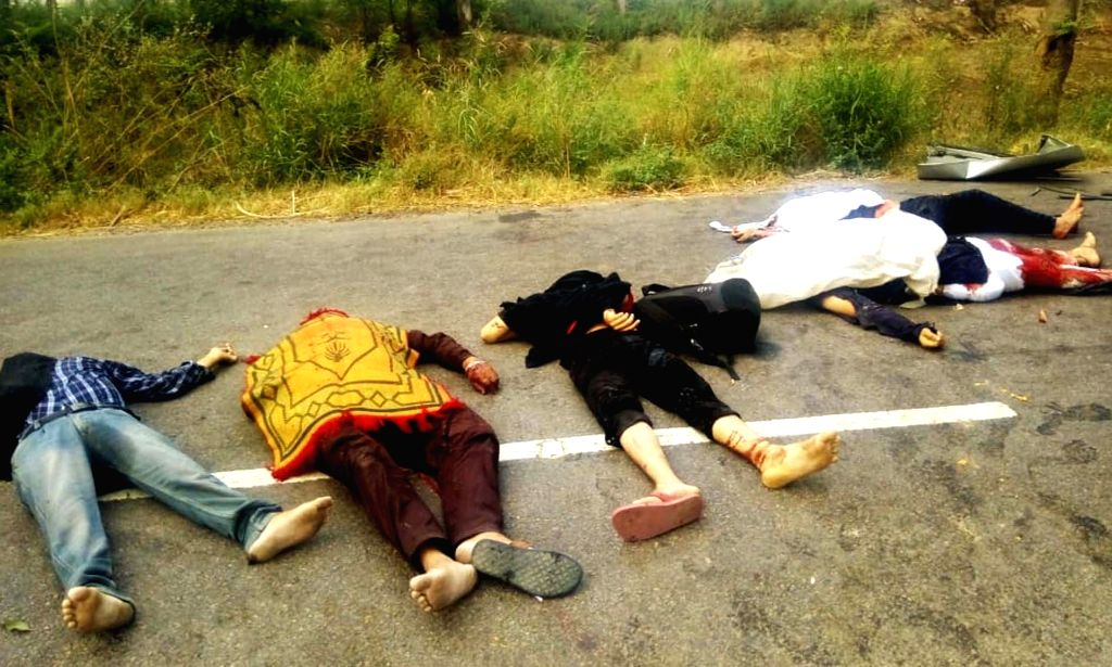 The bodies of those who were killed after a truck hit an SUV near Taloda Kheri village in Jind district, Haryana on June 6, 2019. Reportedly six people were killed and six others sustained ...