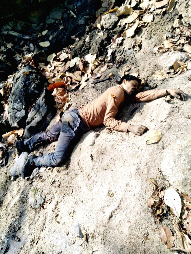The body of a Maoist killed during an encounter with security forces in Jharkhand's Latehar district on April 4, 2018.