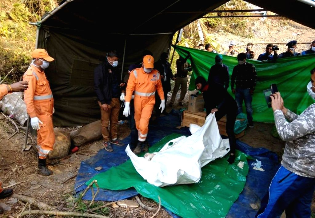 The body of a miner that was pulled out from a 370 feet deep flooded coal mine by a Navy team, in Ksan of Meghalaya's East Jaintia Hills district, on Jan 24, 2019. The highly decomposed body ...