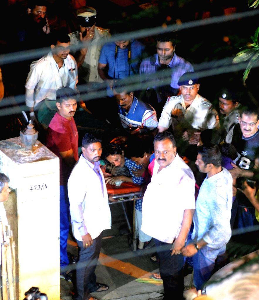 The body of Senior journalist Gauri Lankesh, who was shot dead by unidentified men at her residence, Rajarajeshwari Nagar being taken away; in Bengaluru on Sept 5, 2017.