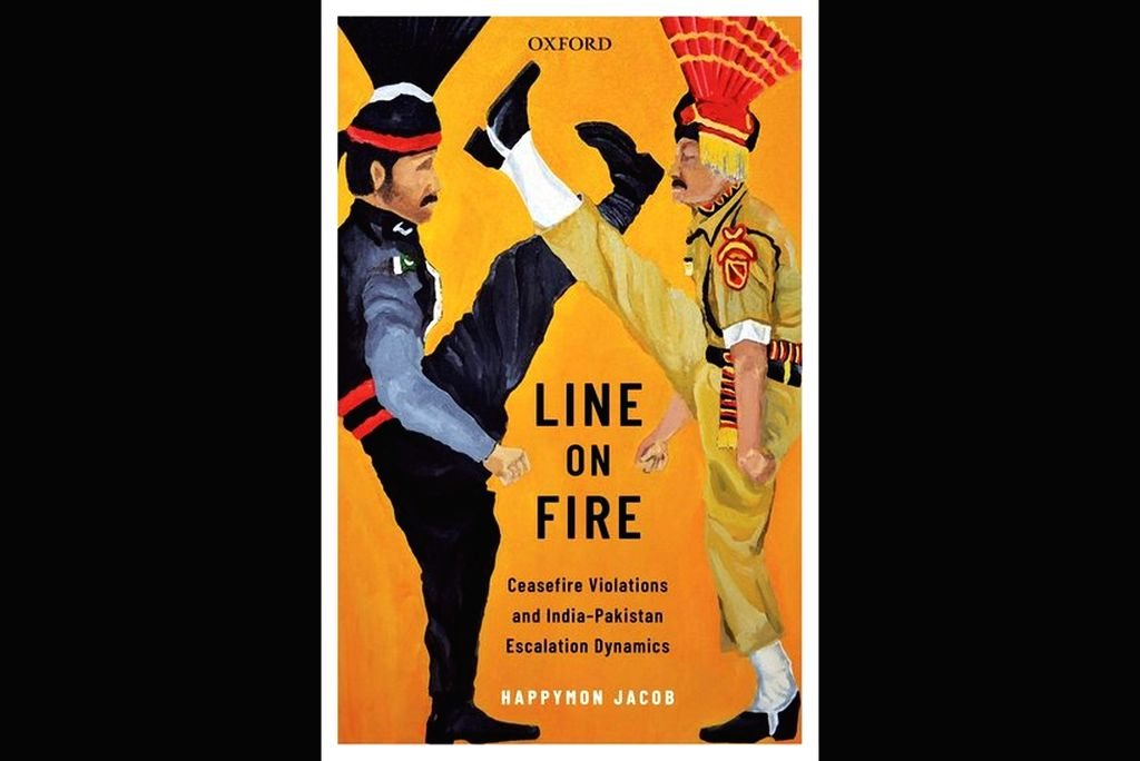 "The book cover of ""Line on Fire: Ceasefire Violations and India-Pakistan Escalation Dynamics""."