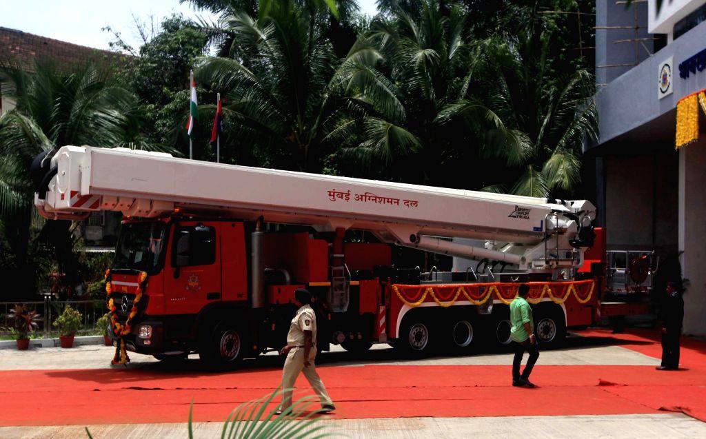The Bronto Skylift - 90 metre hydraulic platform of the Mumbai Fire Brigade in Mumbai, on Aug 16, 2015.