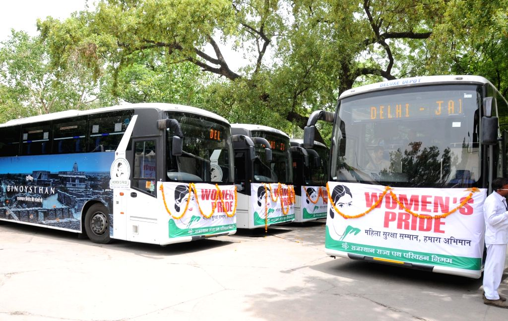 The Buses with safety measures for women under Nirbhaya Scheme that was dedicated to the public by Union Minister for Road Transport & Highways and Shipping Nitin Gadkari, in New Delhi ...