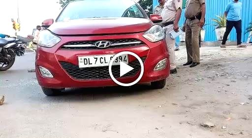 The car in which a woman was shot dead in Delhi's Patparganj area on Sep 21, 2019.