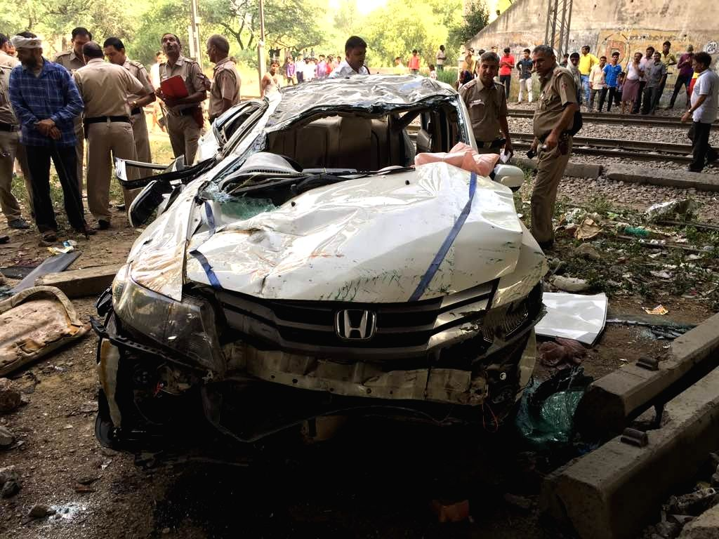 The car that jumped off the Punjabi Bagh flyover killing atleast two persons and injuring five others in New Delhi on May 15, 2017. All the passengers in the car were in the age group of ...