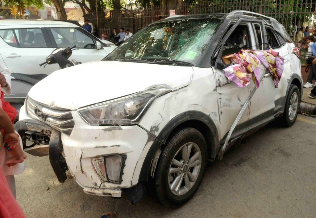 The car that met with an accident near Red Fort in New Delhi on May 29, 2016.
