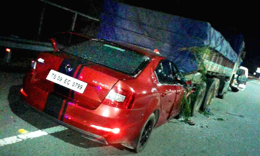 The car that rammed into the back of a parked truck killing actor Bharat, brother of popular Telugu star Ravi Teja,  on Outer Ring road near Shamshabad on June 24, 2017. Bharat was ... - Bharat