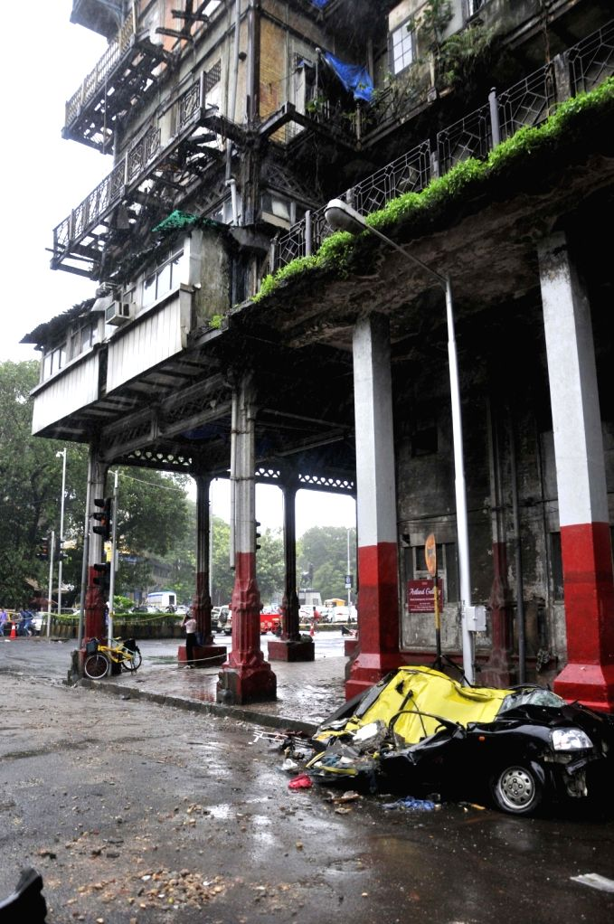 The car that was crushed after a balcony of the Esplanade Mansion in Mumbai's Kala Ghoda area collapsed on July 16, 2018.