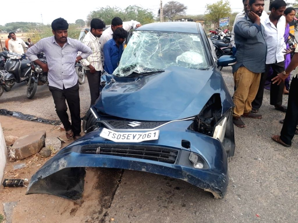 The car that was damaged after a private bus collided with it before ramming into a two-wheeler at Marriguda of Telangana's Nalgonda district, on June 1, 2019. Reportedly the accident ...
