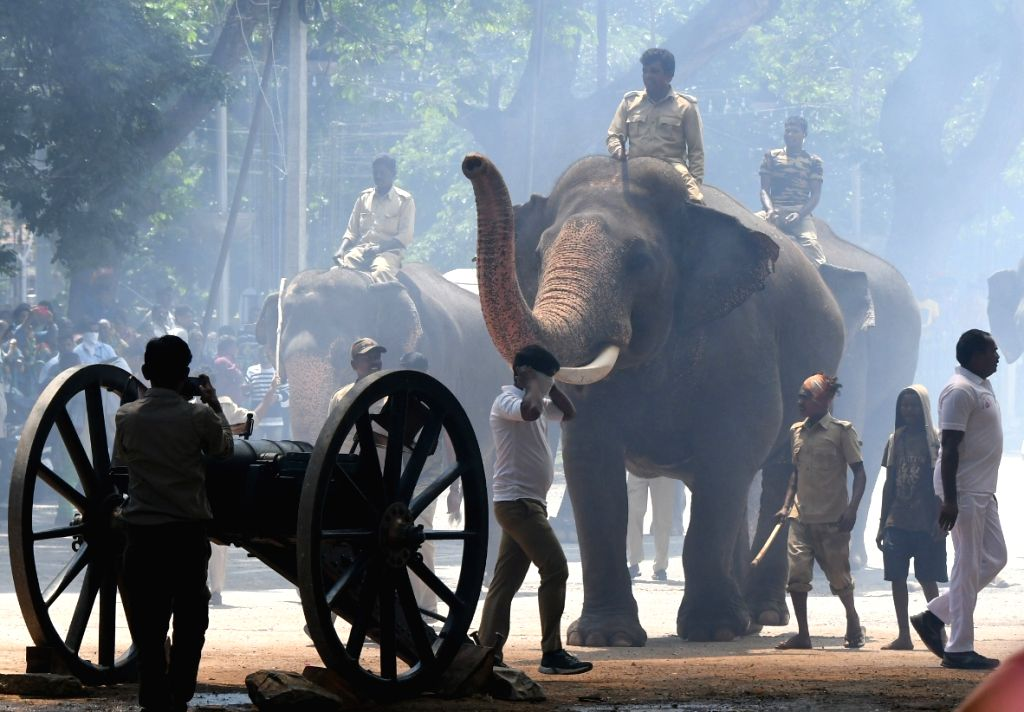 The ceremonial firing of canon shots to mark the inauguration of Dussehra festival underway in the presence of Dasara elephants, in Mysuru on Sep 27, 2019.