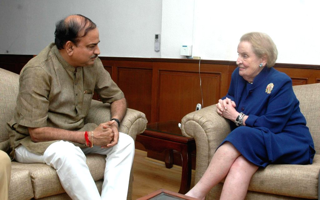 The chairman of Albright Stonebridge Group and former Secretary of State of the United States of America, Madeleine K. Albright calls on Union Minister for Chemicals and Fertilizers Ananth Kumar in ..