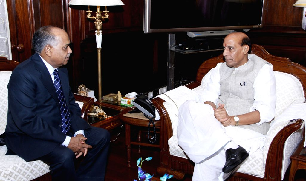 The Chairperson of the National Human Rights Commission, Justice Cyriac Joseph calls on the Union Home Minister Rajnath Singh, in New Delhi on Aug 17, 2015.