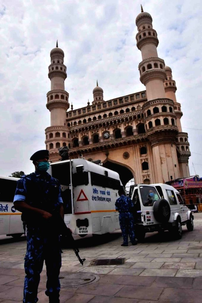 The Charminar bears a deserted look during the extended nationwide lockdown imposed to mitigate the spread of coronavirus, in Hyderabad on May 8, 2020.