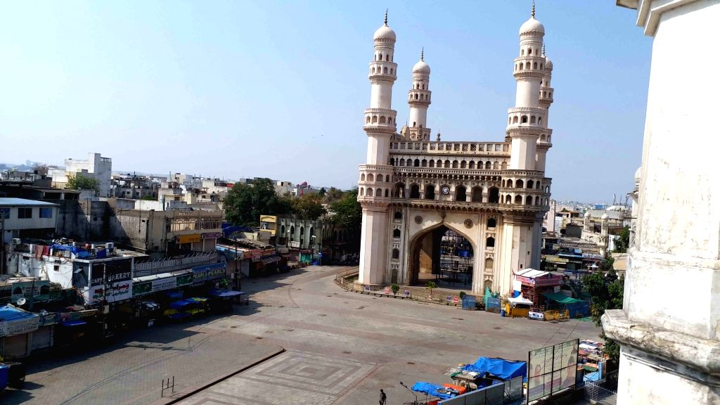 The Charminar bears a deserted look on Day 6 of the 21-day countrywide lockdown imposed to contain the spread of novel coronavirus, in Hyderabad on March 30, 2020.