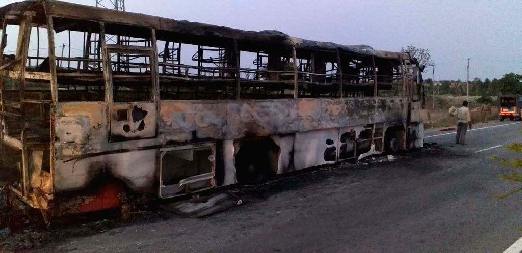 The charred remains of a bus heading from Hyderabad to Bangalore that had caught fire near Enugumarri village of Kurnool district in Andhra Pradesh, on June 6, 2019. All the passengers ...