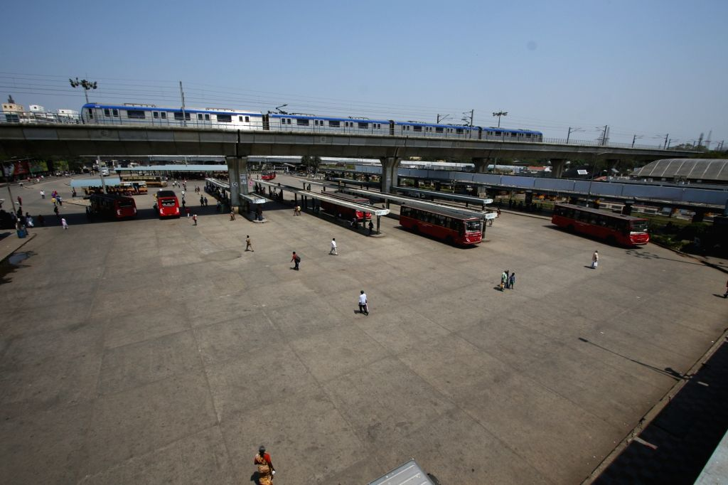 The Chennai Koyambedu bus stand as a deserted look during the Bharath Bandh.
