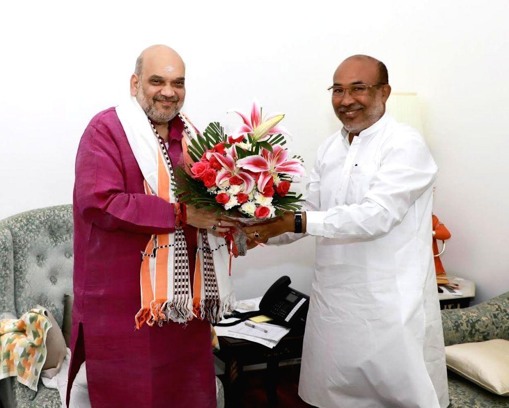 The Chief Minister of Manipur N Biren Singh met Union Home Minister Amit Shah - Amit Shah and N Biren Singh