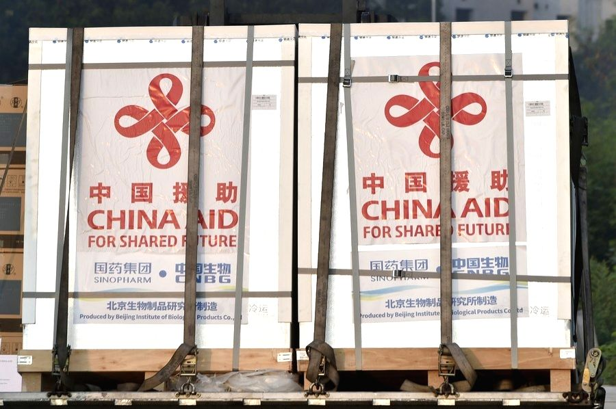 The China-donated COVID-19 vaccines are unloaded in a plane of the Bangladesh Air Force in Dhaka, Bangladesh on May 12, 2021.