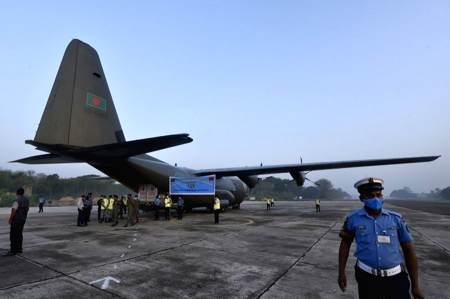 The China-donated COVID-19 vaccines are unloaded in a plane of the Bangladesh Air Force in Dhaka, Bangladesh on May 12, 2021. (Xinhua/IANS)