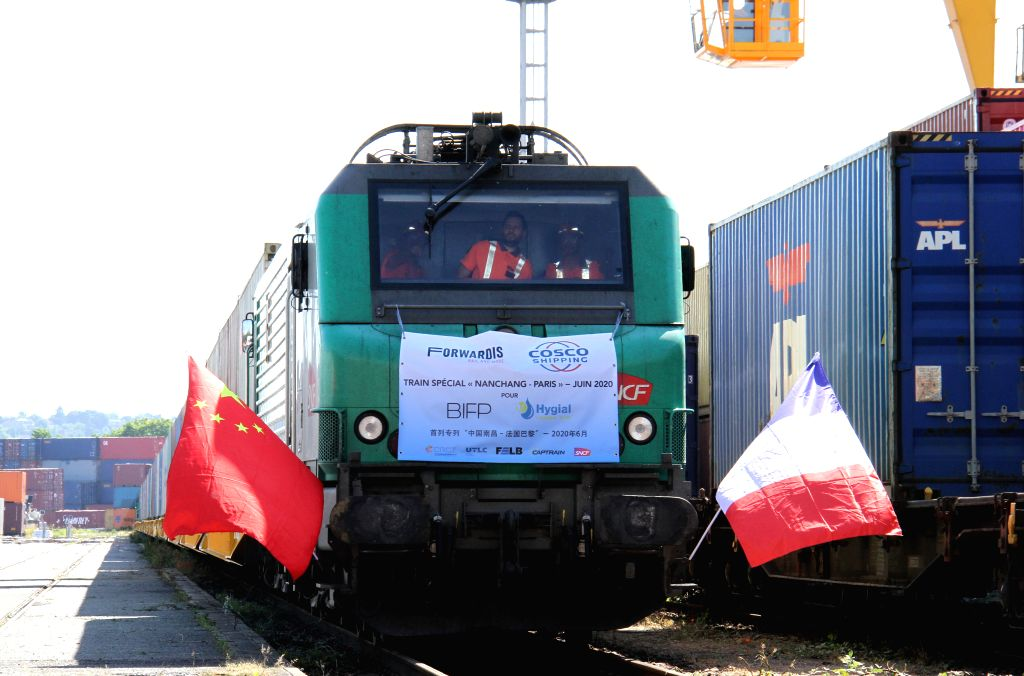 The China-Europe cagro train arrives at Paris, France, June 23, 2020. After a 19-day journey, a China-Europe cargo train loaded with medical materials arrived in ...
