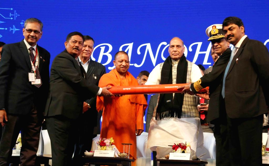 The CMD,Bharat Dynamics Limited, CMD Siddharth Mishra (Retd) dedicating Varunastra???Anti Submarine Torpedo launch, in the presence Defence Minister Rajnath Singh and Uttar Pradesh Chief ... - Rajnath Singh and Siddharth Mishra