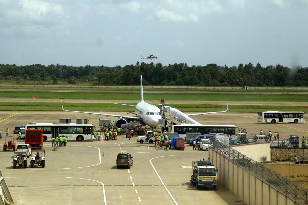 The Cochin International Airport was closed on Thursday night as water entered its taxiway following heavy rains and rising water levels in the Periyar river, a top airport official said. (Photo: IANS)