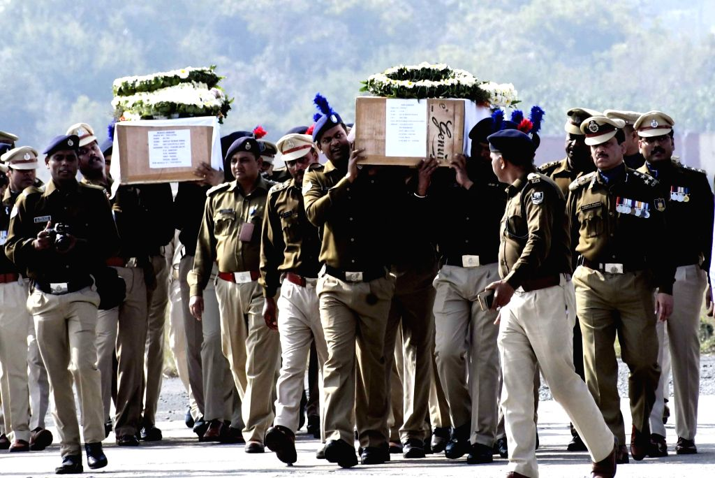 The coffins of Ratan Kumar Thakur and Sanjay Kumar Sinha, who were among the 45 CRPF personnel killed in 14 Feb Pulwama militant attack, arrive in Patna on Feb 16, 2019. - Kumar Thakur and Sanjay Kumar Sinha