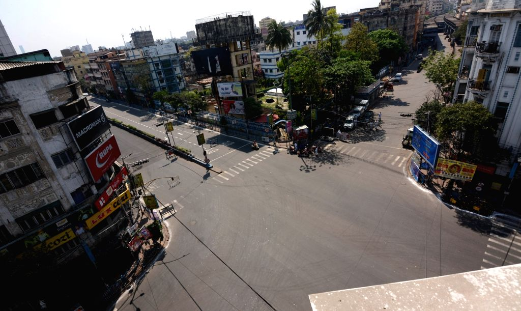 The CR Avenue & Girish Park crossing bears a deserted look on Day 2 of the 21-day nationwide lockdown imposed by the Narendra Modi government over the coronavirus pandemic; in Kolkata on ... - Narendra Modi