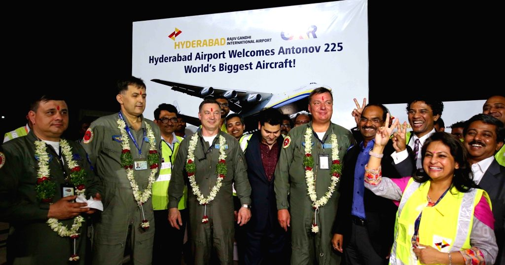 The crew of world's largest cargo aircraft AN-225 Myria parked at Rajiv Gandhi International Airport in Hyderabad, on May 13, 2016.