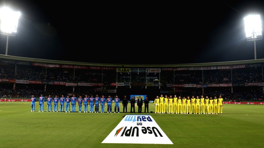 The cricket teams of India and Australia during their respective National Anthems ahead of the 1st T20I match between India and Australia at Dr. Y.S. Rajasekhara Reddy ACA-VDCA Cricket ...