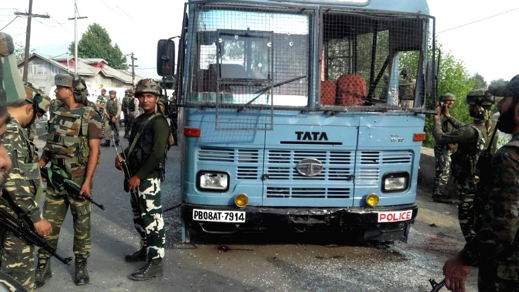 The CRPF bus that was attacked by militants in Pampore of Jammu and Kashmir on June 25, 2016.