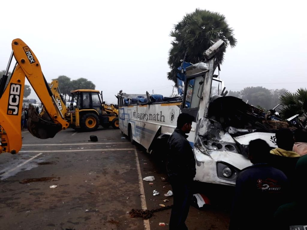 The damaged bus that overturned near Kesinga in Odisha's Kalahandi district, on Jan 28, 2019. Reportedly two people were killed and several others injured in the accident.