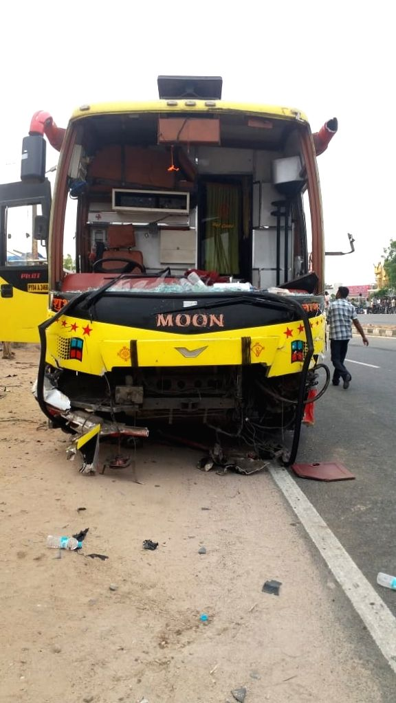 The damaged bus that rammed into a two-wheeler after colliding with a car at Marriguda of Telangana's Nalgonda district, on June 1, 2019. Reportedly the accident killed one and left four ...